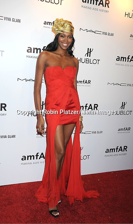 Jessica White arrives at the amfAR New York Gala to kick off Fashion Week on February 8, 2012 at Cipriani Wall Street in New York City.