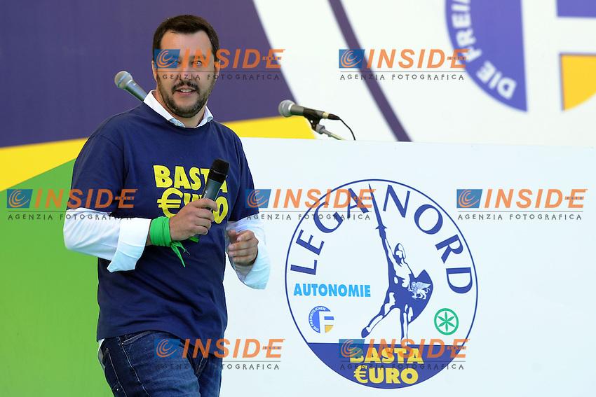 Matteo Salvini Lega secretary <br /> Pontida (Bg) 04/05/2014 <br /> raduno Lega Nord a Pontida - Lega Nord party Rally<br /> foto Andrea Ninni/Image/Insidefoto