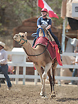 Karen Woodmansee competes in a media day camel race at the International Camel Races in Virginia City, Nev., on Friday afternoon, Sept. 7, 2012. The 53rd annual event continues Saturday at 1 p.m. and at noon on Sunday..Photo by Cathleen Allison