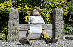 Scarecrow Festival at Kettlewell in Yorkshire 2013<br /> <br /> Jokey scarecrow of Chris Huhne in the stocks <br /> <br /> Scarecrows are made by local community and places in and around their front gardens.  Competition is fierce but it's all to raise money  for the local church  and other local projects to benefit the whole community.<br /> <br /> <br /> <br /> Picture by Gavin Rodgers/ Pixel 8000 <br /> <br /> 07917221968