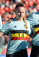 20171024 - PENAFIEL , PORTUGAL :  Belgian Davina Vanmechelen pictured during a women's soccer game between Portugal and the Belgian Red Flames , on tuesday 24 October 2017 at Estádio Municipal 25 de Abril in Penafiel. This is the third game for the  Red Flames during the Worldcup 2019 France qualification in group 6. PHOTO SPORTPIX.BE | DAVID CATRY