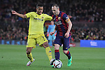 11.02.2015 Barcelona, Spain. Spanish Cup , Semi-final. Picture show Andres Iniesta in Action during game between FC Barcelona against Villareal at Camp Nou