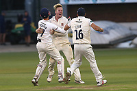 Simon Harmer of Essex celebrates taking the wicket of Steven Finn to win the match during Essex CCC vs Middlesex CCC, Specsavers County Championship Division 1 Cricket at The Cloudfm County Ground on 29th June 2017