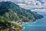 Spectacular view of the Amalfi Coast and the town of Maiori as viewed from the town of Ravello.