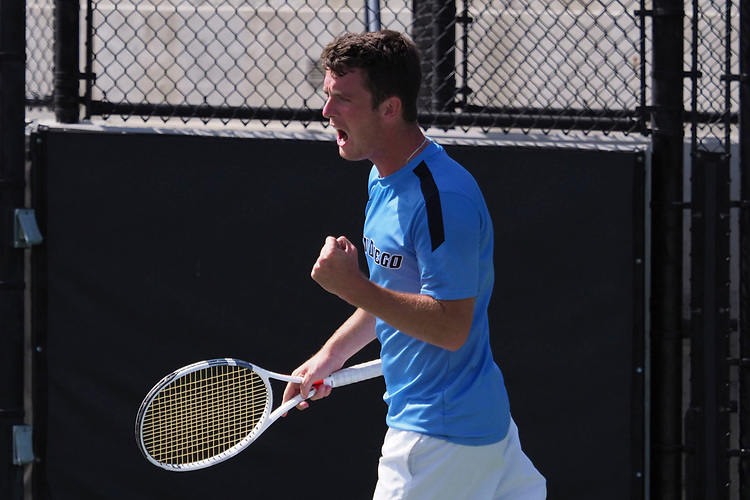 April 28, 2017; Claremont, CA, USA; San Diego Toreros player Josh Page during the WCC Tennis Championships at Biszantz Family Tennis Center.