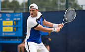 June 14th 2017, Nottingham, England; ATP Aegon Nottingham Open Tennis Tournament day 5;  Illya Marchenko of Ukraine lines up a backhand