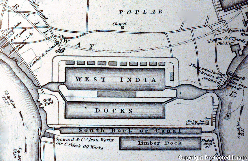 London: Historical--Detail of James Elmes' Chart, West India Docks, 1837.    Reference only.