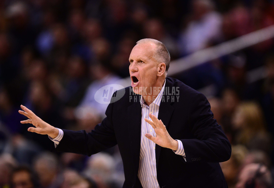 Jan. 2, 2013; Phoenix, AZ, USA: Philadelphia 76ers head coach Doug Collins reacts in the second half against the Phoenix Suns at the US Airways Center. The Suns defeated the 76ers 95-89. Mandatory Credit: Mark J. Rebilas-USA TODAY Sports