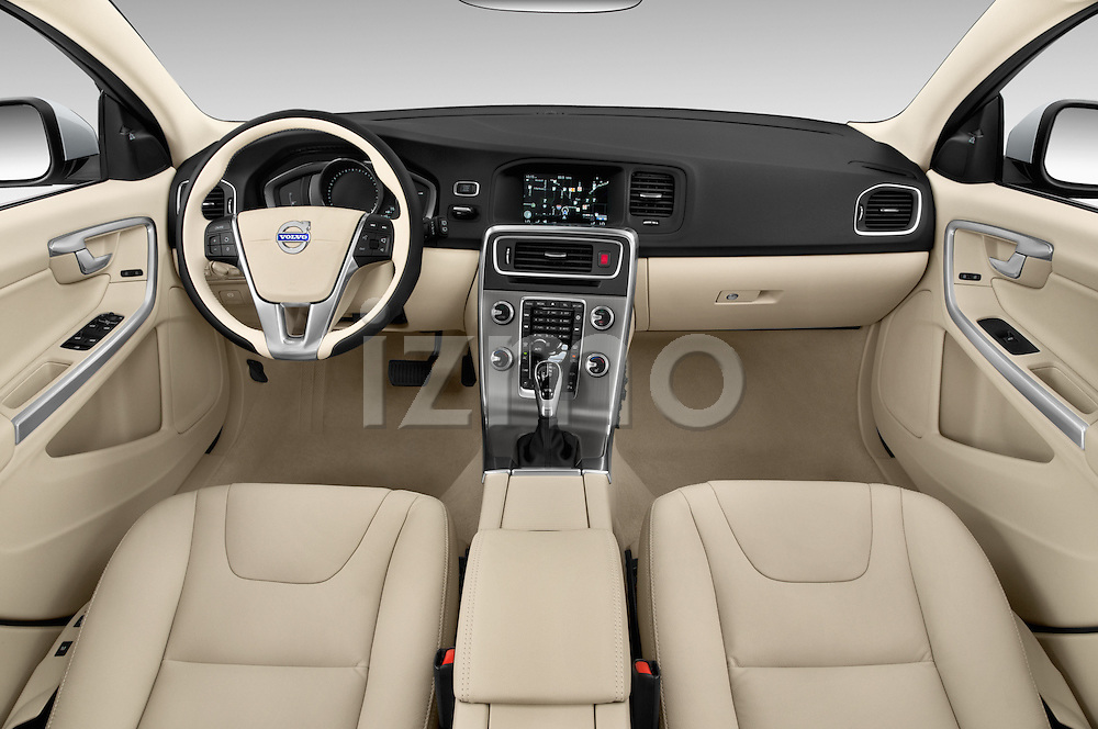 Stock photo of straight dashboard view of 2015 Volvo V60 Xenium T5 Drive-E FWD 5 Door Wagon Dashboard