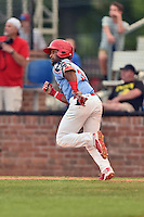 Johnson City Cardinals shortstop J.R. Davis (3) runs to first base during a game against the Danville Braves at Howard Johnson Field at Cardinal Park on July 26, 2016 in Johnson City, Tennessee. The Braves defeated the Cardinals 10-8. (Tony Farlow/Four Seam Images)