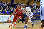 28 November 2014: Stony Brook's Kori Bayne-Walker (5) and Duke's Ka'lia Johnson (right). The Duke University Blue Devils hosted the Stony Brook University Seahawks at Cameron Indoor Stadium in Durham, North Carolina in a 2014-15 NCAA Division I Women's Basketball game. Duke won the game 72-42.