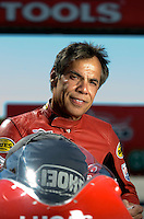 Sept. 5, 2010; Clermont, IN, USA; NHRA pro stock motorcycle rider Hector Arana during qualifying for the U.S. Nationals at O'Reilly Raceway Park at Indianapolis. Mandatory Credit: Mark J. Rebilas-