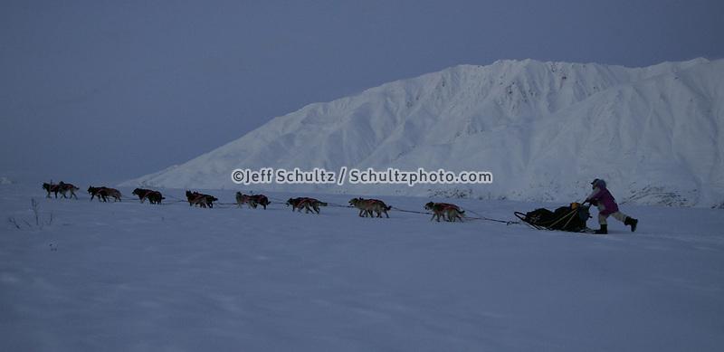 Dee Dee Jonrowe runs along the trail under the Alaska Range after leaving the Rainy Pass Checkpoint. Rainy Pass, Alaska.