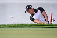 Camilo Villegas (COL) hits from the trap on 18 during round 2 of the Honda Classic, PGA National, Palm Beach Gardens, West Palm Beach, Florida, USA. 2/24/2017.<br /> Picture: Golffile | Ken Murray<br /> <br /> <br /> All photo usage must carry mandatory copyright credit (&copy; Golffile | Ken Murray)