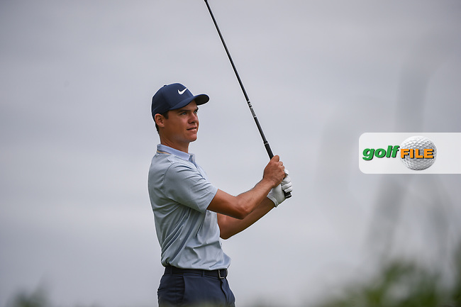 Kristoffer Venturea (USA) watches his tee shot on 11 during day 4 of the Valero Texas Open, at the TPC San Antonio Oaks Course, San Antonio, Texas, USA. 4/7/2019.<br /> Picture: Golffile | Ken Murray<br /> <br /> <br /> All photo usage must carry mandatory copyright credit (© Golffile | Ken Murray)