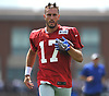 Kyle Lauletta #17, New York Giants rookie quarterback, does wind sprints during training camp at Quest Diagnostics Training Center in East Rutherford, NJ on Friday, Aug. 3, 2018.