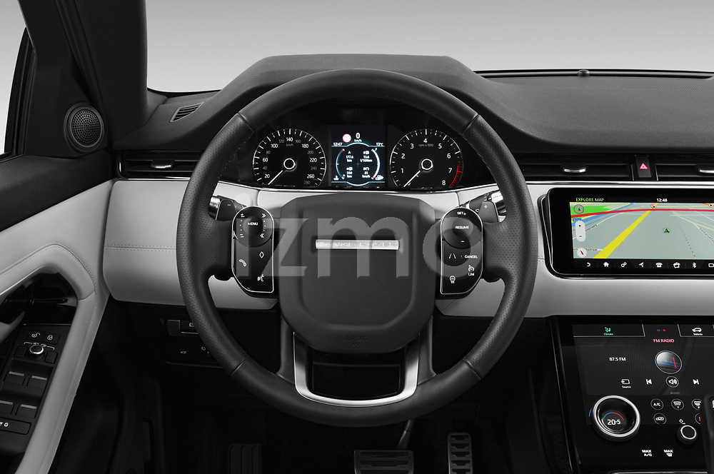 Car pictures of steering wheel view of a 2019 Land Rover Range-Rover-Evoque Dynamic 5 Door SUV Steering Wheel
