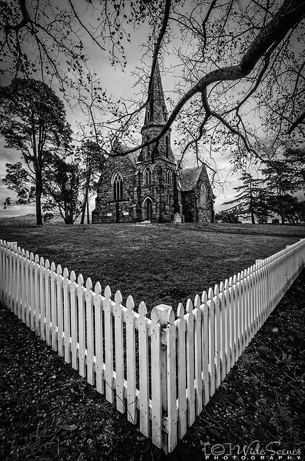 The Uniting Church, situated prominently on the hilltop of the historic town of Ross in Tasmania in Australia. It was built in 1885 and is noted for its blackwood pews and carved baptismal font.