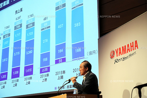 August 4, 2016, Tokyo, Japan - Japan's motorcycle giant Yamaha Motor president Hiroyuki Yanagi announces the company's first half financial result in Tokyo on Thursday, August 4, 2016. Yamaha Motor and Yanmar announced they have agreed to a business alliance for the multi purpose vehicles business in the United States from next year.    (Photo by Yoshio Tsunoda/AFLO) LWX -ytd-