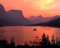Sunset glow on Saint Mary Lake and Wild Goose Island; Glacier National Park, MT