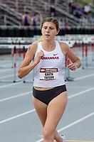 NWA Democrat-Gazette/BEN GOFF @NWABENGOFF<br /> Greta Taylor of Arkansas run in the women's 3,000 meter run Friday, April 12, 2019, at the John McDonnell Invitational at John McDonnell field in Fayetteville.