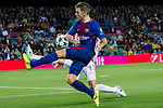 Gerard Deulofeu Lazaro of FC Barcelona fights for the ball with Alberto Botia of Olympiacos FC during the UEFA Champions League 2017-18 match between FC Barcelona and Olympiacos FC at Camp Nou on 18 October 2017 in Barcelona, Spain. Photo by Vicens Gimenez / Power Sport Images