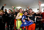 Players celebrate promotion during the English League One match at Sixfields Stadium Stadium, Northampton. Picture date: April 8th 2017. Pic credit should read: Simon Bellis/Sportimage