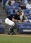 September 2, 2004:  Catcher Joe Hietpas of the Binghamton Mets, Eastern League (AA) affiliate of the New York Mets, during a game at NYSEG Stadium in Binghamton, NY.  Photo by:  Mike Janes/Four Seam Images