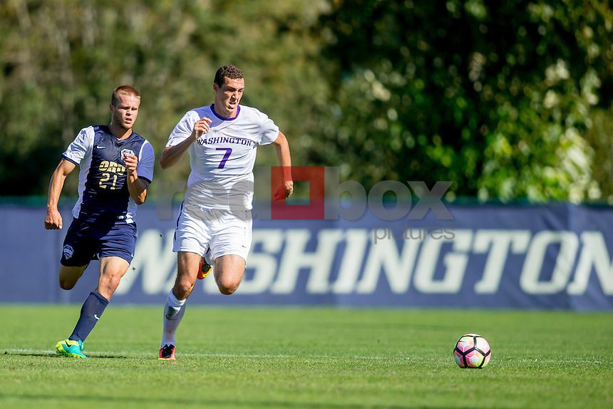 The University of Washington men's soccer team defeats Oral Roberts University 4-2 in Seattle on September 4, 2016 (Photography by Scott Eklund/Red Box Pictures)