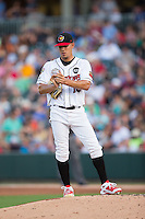 International League All-Star Jose Berrios (16) of the Rochester Red Wings rubs up the baseball before taking the mound at the 29th Annual Triple-A All-Star Game at BB&T BallPark on July 13, 2016 in Charlotte, North Carolina.  The International League defeated the Pacific Coast League 4-2.   (Brian Westerholt/Four Seam Images)