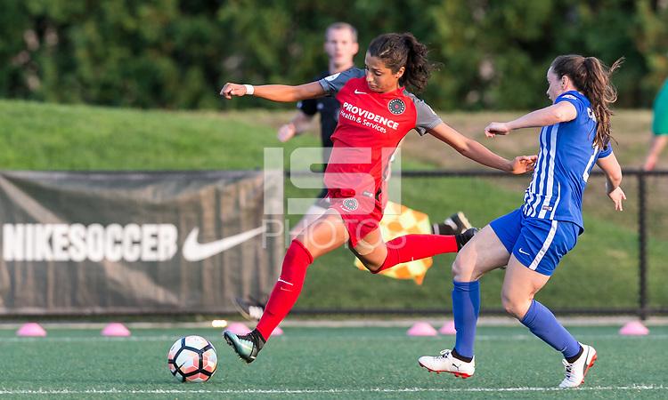 Allston, Massachusetts - September 10, 2017:  In a National Women's Soccer League (NWSL) match, Portland Thorns FC (red) defeated Boston Breakers (blue), 1-0, at Jordan Field.