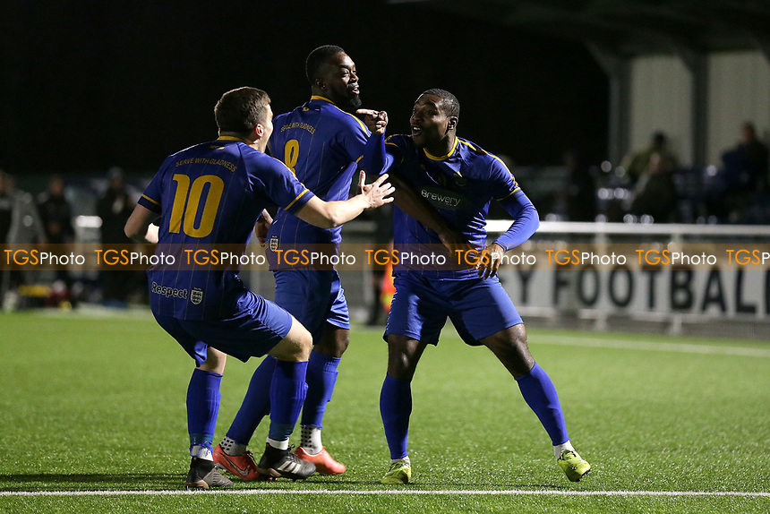 Mekhi Leacock McLeod scores the first goal for his team and celebrates with his team mates during Romford vs Brentwood Town, BetVictor League North Division Football at Parkside on 11th February 2020