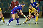 GER - Muelheim an der Ruhr, Germany, February 04: During the FinalFour semi-final women hockey match between Harvestehuder THC (yellow) and Mannheimer HC (blue) on February 4, 2017 at innogy Sporthalle in Muelheim an der Ruhr, Germany. Final score 4-2 (HT 1-2). (Photo by Dirk Markgraf / www.265-images.com) *** Local caption *** Cecile Pieper #3 of Mannheimer HC