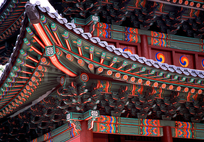 Pagoda roof detail of Changdok Royal Palace Seoul South Korea.