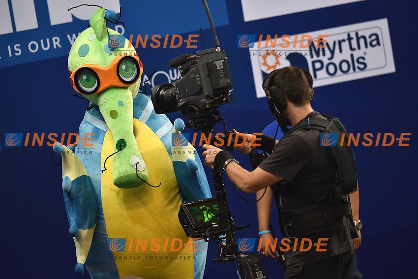 DENTSU, Mascotte, TV Crew <br /> Doha Qatar 04-12-2014 Hamad Aquatic Centre, 12th FINA World Swimming Championships (25m). Nuoto Campionati mondiali di nuoto in vasca corta.<br /> Photo Andrea Staccioli/Deepbluemedia/Insidefoto