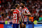 Kieran Trippier (L) and Diego Costa (R) of Atletico de Madrid celebrate the victory during La Liga match between Atletico de Madrid and SD Eibar at Wanda Metropolitano Stadium in Madrid, Spain.September 01, 2019. (ALTERPHOTOS/A. Perez Meca)