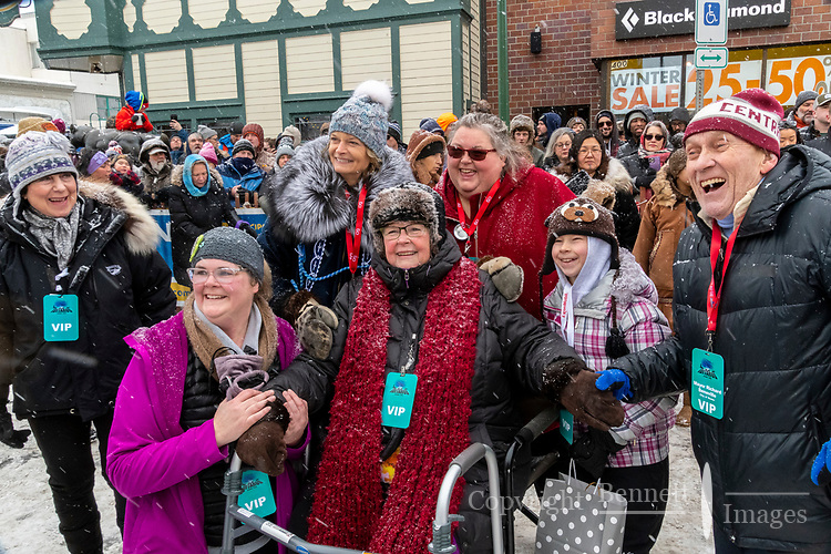 Fans pose with Senator Lisa Murkowski at 4th Avenue and D street in downtown Anchorage, Alaska on Saturday March 7th during the 2020 Iditarod race. Photo copyright by Cathy Hart Photography.com