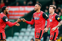 Wes Thomas of Grimsby Townis congratulated on scoring the first goal by Reece Hall-Johnson (l) of Grimsby Town during Yeovil Town vs Grimsby Town, Sky Bet EFL League 2 Football at Huish Park on 9th February 2019
