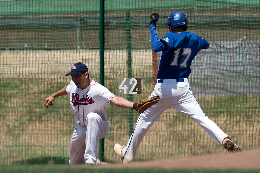 24 May 2009: Jean-Pascal Furet of La Guerche catches the ball at first base during the 2009 challenge de France, a tournament with the best French baseball teams - all eight elite league clubs - to determine a spot in the European Cup next year, at Montpellier, France. Senart wins 8-5 over La Guerche.