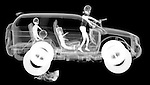 X-ray image of a road rage soccer mom (white on black) by Jim Wehtje, specialist in x-ray art and design images.