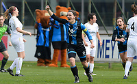 20180414 - AALTER , BELGIUM : Brugge's Barbara Lezy pictured celebrating her goal and Brugge's lead during the 21st matchday in the 2e Nationale Women's league , a womensoccer game between Club Brugge Dames and GFA Sinaai , in Aalter , saturday 15 th April 2018 . PHOTO SPORTPIX.BE | DAVID CATRY