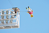 October 02, 2011:  Jacksonville Jaguars mascot Jaxson De Ville leaps from the top of a light pole as part of the pre-game ceremonies before the start of action between the Jacksonville Jaguars and the New Orleans Saints at EverBank Field in Jacksonville, Florida.  New Orleans defeated Jacksonville 23-10.........