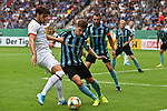 11.08.2019, Carl-Benz-Stadion, Mannheim, GER, DFB Pokal, 1. Runde, SV Waldhof Mannheim vs. Eintracht Frankfurt, <br /> <br /> DFL REGULATIONS PROHIBIT ANY USE OF PHOTOGRAPHS AS IMAGE SEQUENCES AND/OR QUASI-VIDEO.<br /> <br /> im Bild: Goncalo Paciencia (Eintracht Frankfurt #39) gegen Kevin Conrad (SV Waldhof Mannheim #4) und Marco Schuster (SV Waldhof Mannheim #6)<br /> <br /> Foto © nordphoto / Fabisch
