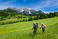 Oesterreich, Salzburger Land, Pinzgau, Dienten am Hochkoenig: Wanderer vorm Hochkoenig | Austria, Salzburger Land, Pinzgau region, Dienten am Hochkoenig: senior hiker couple and Hochkoenig mountains