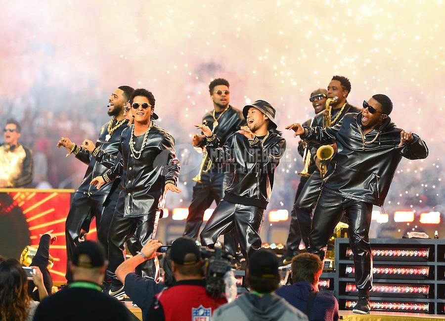 Feb 7, 2016; Santa Clara, CA, USA; Recording artist Bruno Mars performs at halftime in Super Bowl 50 between the Carolina Panthers and the Denver Broncos at Levi's Stadium. Mandatory Credit: Mark J. Rebilas-USA TODAY Sports