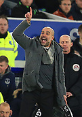 6th February 2019, Goodison Park, Liverpool, England; EPL Premier League Football, Everton versus Manchester City; Manchester City manager Pep Guardiola reacts on the touchline late in the match