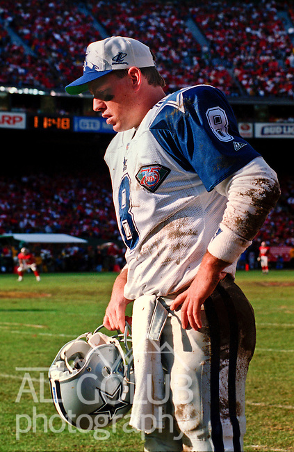 San Francisco 49ers vs. Dallas Cowboys at Candlestick Park Sunday, January 15, 1995.  49ers beat Cowboys 38-28.  Dallas Cowboys quarterback Troy Aikman (8).