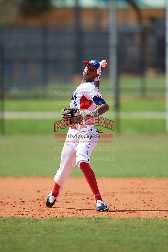 Abdias De La Cruz (2) during the Dominican Prospect League Elite Florida Event at Pompano Beach Baseball Park on October 15, 2019 in Pompano beach, Florida.  (Mike Janes/Four Seam Images)