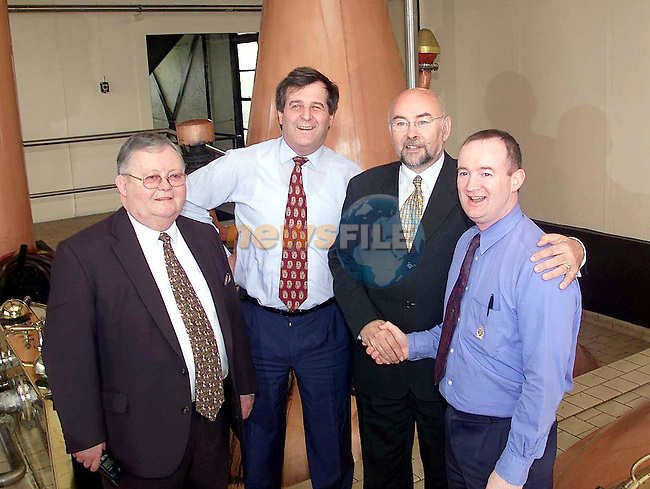 Micheal Bell (left), David Hynes, Managing Director of Cooley Distilleries, Ruari Quinn and Fergal Wilson, Cooley Distilleries....Picture  Newsfile.Supply Pic..This Picture is sent to you by:..Newsfile Ltd.The View, Millmount Abbey, Drogheda, Co Louth, Ireland..Tel: +353419871240.Fax: +353419871260.GSM: +353862500958.ISDN: +353419871010.email: pictures@newsfile.ie.www.newsfile.ie
