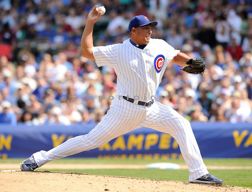 CARLOS ZAMBRANO, of the Chicago Cubs, in action during the Cubs game against the Milwaukee Brewers at Wrigley Field in Chicago, Illinois  on April 15, 2010...The Brewer win 8-6